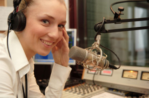 woman speaking into a micrphone