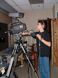 high school video student working