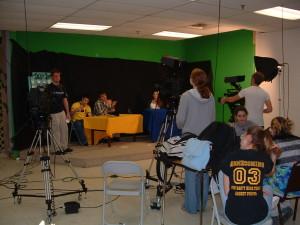 high school video production classroom wide shot