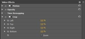 editing timeline for split screen effect