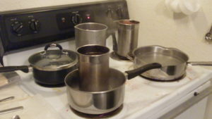 pots and pans for candle making