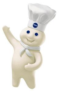 pillsbury doughboy smiles and waves