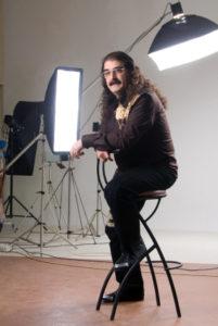 man has a professional photo taken